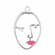 Basic quality metaal bedel lined face pink lips Zilver