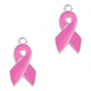 Basic quality metaal bedel ribbon Zilver-pink