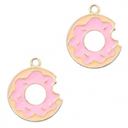 Basic quality metaal bedel donut Goud-roze