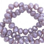 Facet kralen top quality disc 6x4 mm Greige purple-pearl shine coating