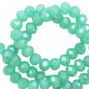 Facet kralen top quality disc 4x3 mm Light emerald green-pearl shine coating
