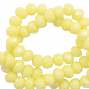 Facet kralen top quality disc 8x6 mm Sunshine yellow-pearl shine coating