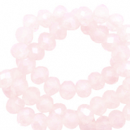 Facet kralen top quality disc 3x2 mm Seashell pink-pearl shine coating