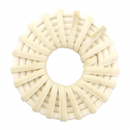 Geweven rotan hangers rond 40mm Natural beige