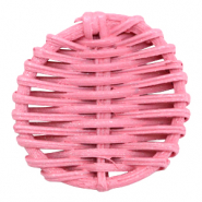 Geweven rotan hangers rond 40mm Pink