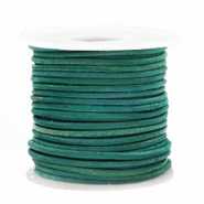 Leer DQ rond 1 mm Antique turquoise green