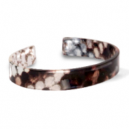 Hippe armbanden resin loose fit snake shiny Brown-grey