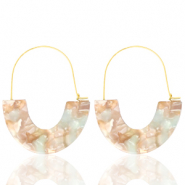 Musthave oorbellen resin Beige blue-gold