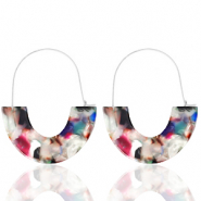 Musthave oorbellen resin Multicolour-silver