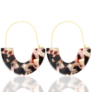 Musthave oorbellen resin Brown pink-gold