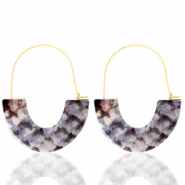 Musthave oorbellen resin snake Grey white-gold