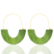 Musthave oorbellen resin Olive green-gold