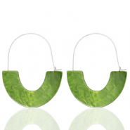 Musthave oorbellen resin Olive green-silver
