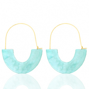 Musthave oorbellen resin Turquoise-gold
