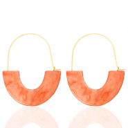 Musthave oorbellen resin Living coral red-gold