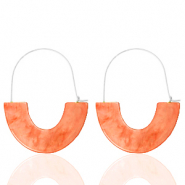 Musthave oorbellen resin Living coral red-silver