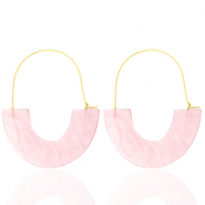 Musthave oorbellen resin Light pink-gold