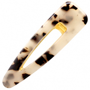 Haaraccessoires haarspeld resin XL Cream black-gold