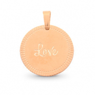 "Bedels van Stainless steel Roestvrij staal (RVS) rond 15mm ""love"" Mix&Match Rosé goud"