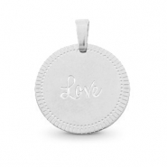 "Bedels van Stainless steel Roestvrij staal (RVS) rond 15mm ""love"" Mix&Match Zilver"