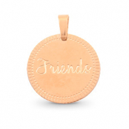 "Bedels van Stainless steel Roestvrij staal (RVS) rond 15mm ""friends"" Mix&Match Rosé goud"