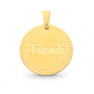 "Bedels van Stainless steel Roestvrij staal (RVS) rond 15mm ""friends"" Mix&Match Goud"