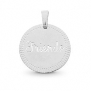 "Bedels van Stainless steel Roestvrij staal (RVS) rond 15mm ""friends"" Mix&Match Zilver"