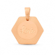 "Bedels van Stainless steel Roestvrij staal (RVS) hexagon ""love"" Mix&Match Rosé goud"