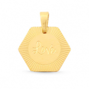 "Bedels van Stainless steel Roestvrij staal (RVS) hexagon ""love"" Mix&Match Goud"