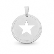 Bedels van Stainless steel Roestvrij staal (RVS) rond 12mm star Mix&Match Zilver