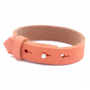 Armbanden Cuoio nubuck leer 15 mm voor 20 mm cabochon Living coral red