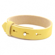 Armbanden Cuoio nubuck leer 15 mm voor 20 mm cabochon Mineral yellow