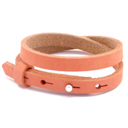Armbanden Cuoio nubuck leer 8 mm dubbel voor 12 mm cabochon Living coral red