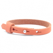 Armbanden Cuoio nubuck leer 8 mm voor 12 mm cabochon Living coral red