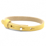 Armbanden Cuoio nubuck leer 8 mm voor 12 mm cabochon Mineral yellow