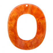 Hangers van resin ovaal 48x40mm Flame orange