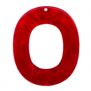 Hangers van resin ovaal 48x40mm Cherry red