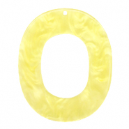 Hangers van resin ovaal 48x40mm Sunshine yellow