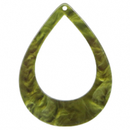 Hangers van resin druppel 45x34mm Olive green