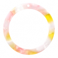 Hangers van resin rond 35mm  Pink-yellow