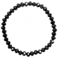 Facet armbanden top quality 6x4mm Jet black-pearl shine coating
