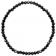 Facet armbanden top quality 4x3mm Jet black-pearl shine coating