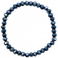 Facet armbanden top quality 6x4mm Dark blue-pearl shine coating