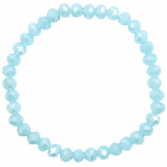 Facet armbanden top quality 6x4mm Light blue-pearl shine coating
