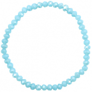 Facet armbanden top quality 4x3mm Light blue-pearl shine coating