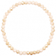 Facet armbanden top quality 4x3mm Nude beige-half pearl shine coating