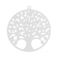 Bohemian hanger tree of life 25mm Zilver (nikkelvrij)