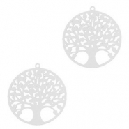 Bohemian hanger tree of life 15mm Zilver (nikkelvrij)