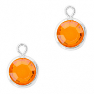DQ Hanger van crystal glas rond 6mm Silver-Sun orange