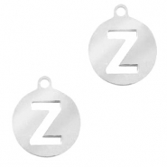 Bedels van Stainless steel Roestvrij staal (RVS) rond 10mm initial coin Z Zilver